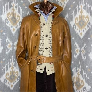 "Vintage ""Original Teller Coat"" Tan Leather Trench"